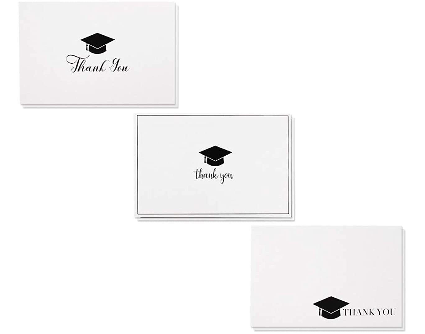 36-Pack Graduation Thank You Cards - Thank You Greeting Cards Bulk Box Set, 3 Black and White Graduation Cap Thank You Designs, Includes 36 Note Cards and White Envelopes, 4 x 6 Inches