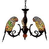 Araña de comedor de estilo tiffany Lámpara pendiente de Tiffany manchado del estilo de la lámpara de cristal amarillo del loro pájaro...
