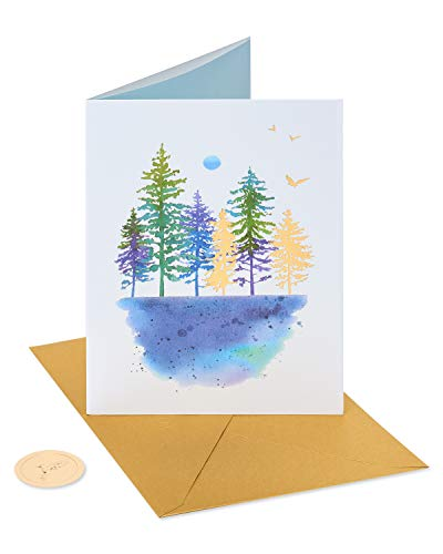 Papyrus Blank Thinking of You Card (Watercolor Trees)