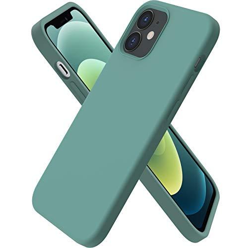 ORNARTO kompatibel mit iPhone 12 | 12 Pro 6,1 Silikon Hülle, Hülle Ultra Dünne Voller Schutz Flüssig Silikon Handyhülle Schutz für iPhone 12 Pro/iPhone 12(2020) 6,1 Zoll Piniengrün