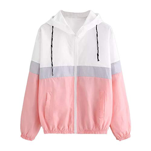 Women's Windbreakers Lightweight Windproof Windbreaker Outdoor Hooded Outwear Jacket, Long Sleeve Color Block Sport Coat(Pink, S)