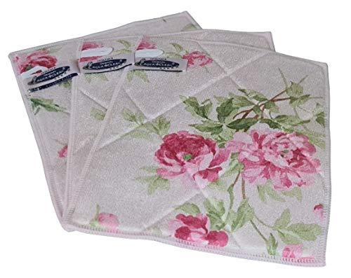 AQUA CLEAN Kristall Sonnenschein Spültücher Vintage Design Rosen 3 Stück