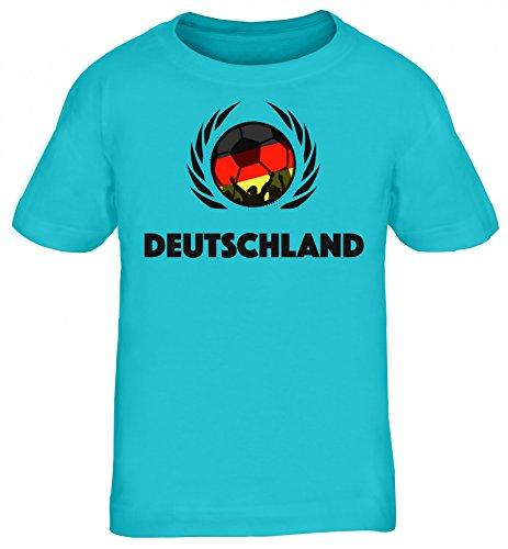 Germany Wappen World Cup Fussball WM Fanfest Kids Kinder T-Shirt Fußball Deutschland, Größe: 134/146,türkis
