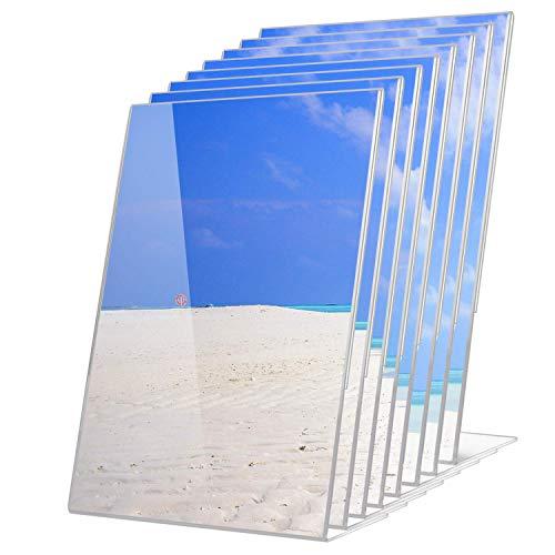 YeVhear 8 x 30 cm acryl letterhouder, schuin achter voor brochures, A4-papier, duurzaam, schuin aan de achterkant, doorzichtig, uitnodiging aan de zijkant