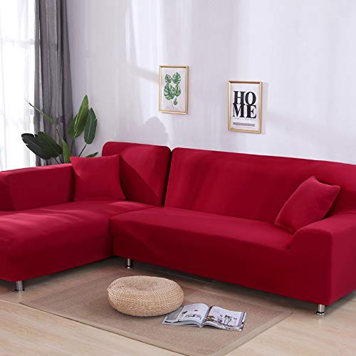 WXQY Funda de sofá elástica elástica Lisa Gris, se Puede Utilizar para sofá con Fondo en Forma de L, sofá Modular y Funda de Chaise Longue A18 de 4 plazas