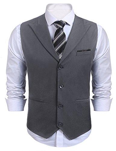 COOFANDY Chaleco de traje para hombre, corte ajustado, cuello en V, sin mangas, con 5 botones, para negocios, informal, clásico, básico, para hombre A-gris S