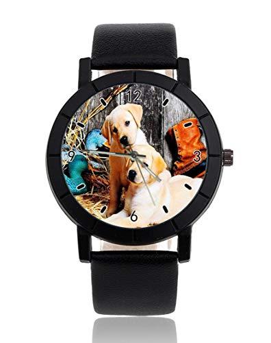 Dos perros y patos personalizados reloj personalizado casual correa de cuero negro reloj de pulsera...