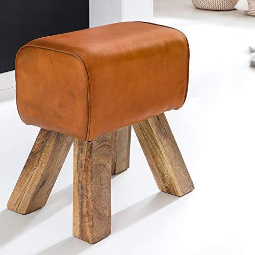 FineBuy Design Turnbock Sitzhocker Braun 40 x 30 x 47 cm | Turnhocker Hocker Lederhocker Springbock | Beistellhocker Echtleder Fußhocker Pferd