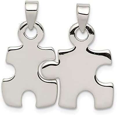 925 Sterling Silver Puzzle Pieces Pendant Charm Necklace Awarenes Man Fine Jewelry For Dad Mens product image