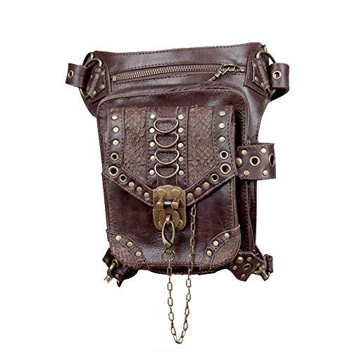 Haobing PU Leather Vintage Crossbody Shoulder Bag Steampunk Waist Packs Bag Drop Leg Bag Gothic (Light Brown, One Size)