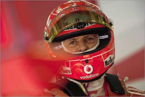 Alubild 90 x 60 cm: Michael Schumacher Helm Porträt, F1 Shanghai 2006 von Motorsport Images