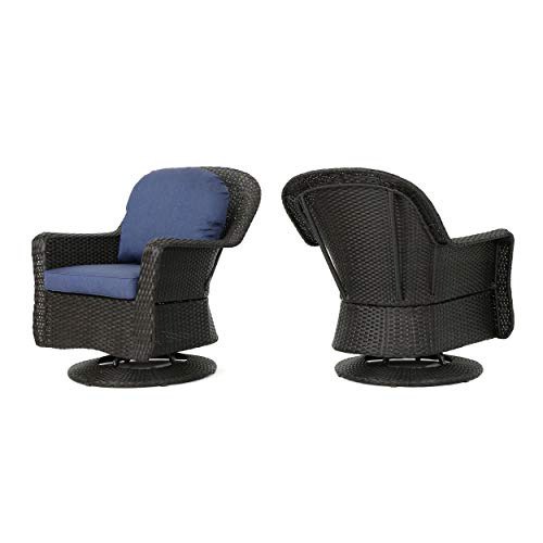 Christopher Knight Home Liam Outdoor Wicker Swivel Club Chairs with Water Resistant Cushions, 2-Pcs Set, Dark Brown / Navy Blue
