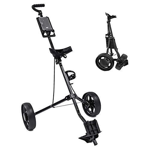 2 Wheels Golf Trolley Push Pull Golf Cart with Adjustable Handle Angle, Scorecard, and Foot Brake, Folding Lightweight Golf Push Cart
