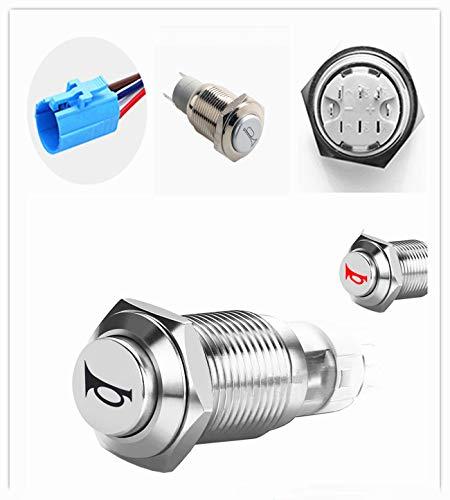 YIYDA Interruptor de botón pulsador de bocina de coche de enclavamiento Interruptor de botón de altavoz momentáneo de 12V ON/OFF LED rojo de 16 mm Botón de reinicio Interruptor de bocina de metal