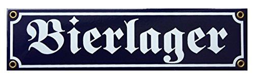 Bier Lager Emaille Schild 8 x 30 cm Bierlager Emailschild blau