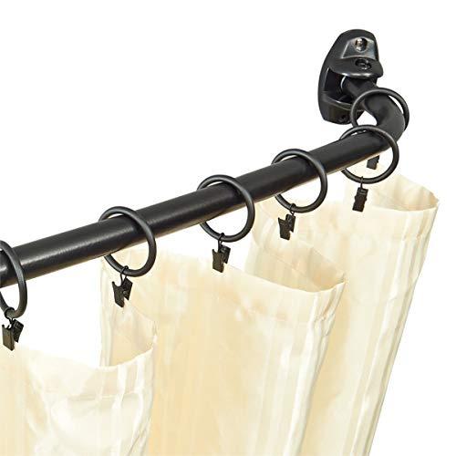 Vimayta shower curtain rod, 1 inch curved shower curtain rod, 60-72 Inches Adjustable bathroom shower curtain rod, Matte Black