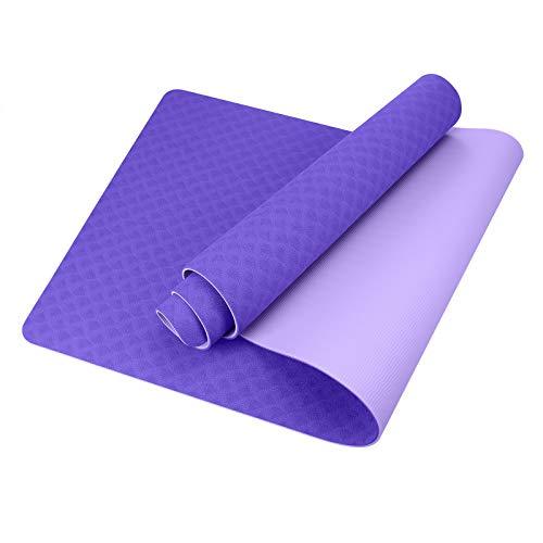 GISALA TPE Yogamatte rutschfest fitnessmatteGymnastikmatte Trainingsmatte für Yoga, Pflegeleichte jogamatte mit Tragegurt/Tasche (hell Violet)