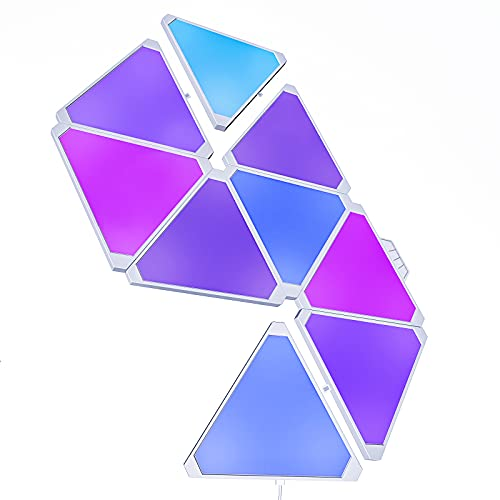 Smart Triangle RGB LED Wall Light Panels Rhythm Edition 9 Pack,Work with Alexa,Google Home for...