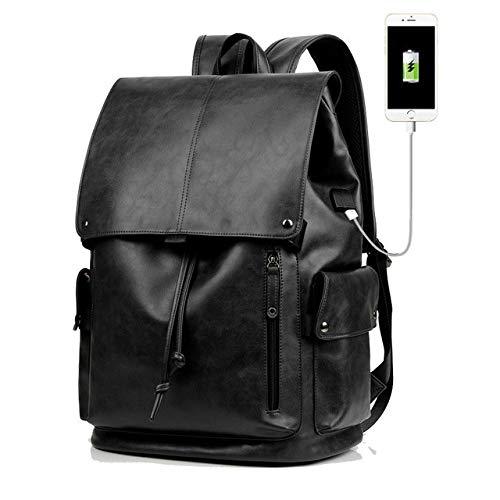 Mochila para portátil Informal de Moda para Hombre Mochila de Viaje de Gran Capacidad Vintage Cuero Bolsa de Interfaz USB Negro - Negro