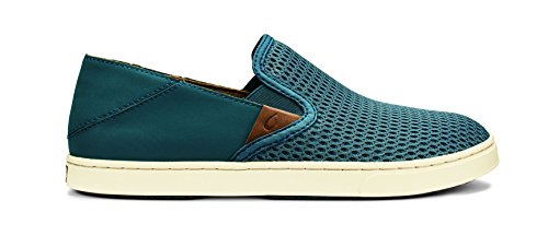 Olukai Femme Sneaker Pehuea Cuir Argile - Vert - Stormy Blue Stormy Blue., 36 EU