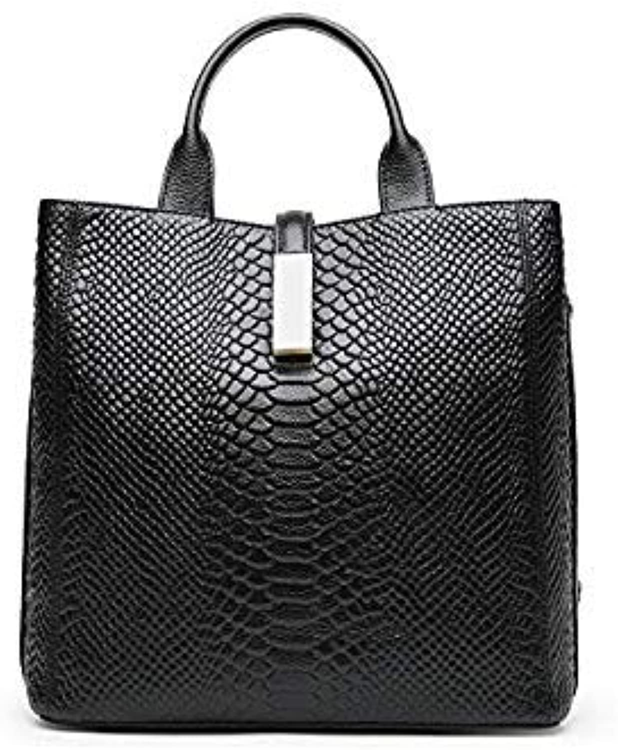Bloomerang QIAOBAO Women Bags Fashion Alligator Women Handbags High Quality Real Leather Women Shoulder Bags Luxury Casual Ladies Tote color Black 30x14x27CM