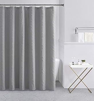 Tahari Home   Wyatt Bath Collection   Modern Heavyweight Shower Curtain 72 x72  Grey