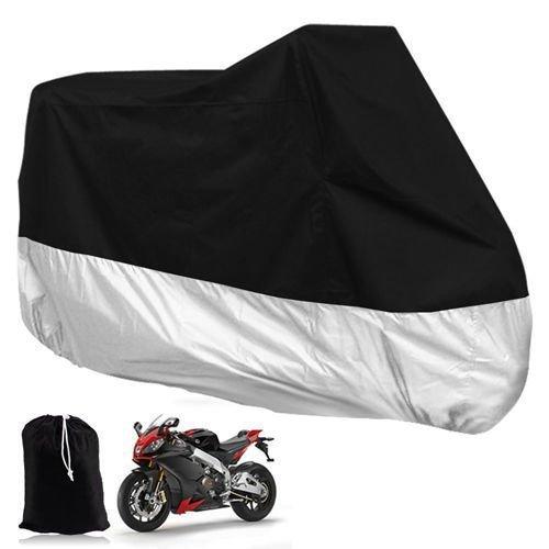 XCSSKG Motorrad Regen Cover All Season Wasserdicht Outdoor Fahrrad Motorrad Schutzhülle, XL 243,8x 104,1x 124,5cm + [Tragetasche] [Schwarz + Silber]