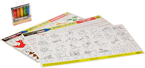 Melissa & Doug Letters & Words Write-a-Mat w/ Crayon Bundle for Ages 4 to 5+: Alphabets, Phonics & Handwriting - The Straight Edge Series