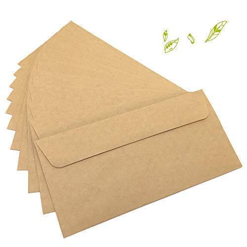 Japun – Briefumschläge (100 Stück) aus vintage Kraftpapier / ohne Fenster (DIN lang - 222 x 110 mm)
