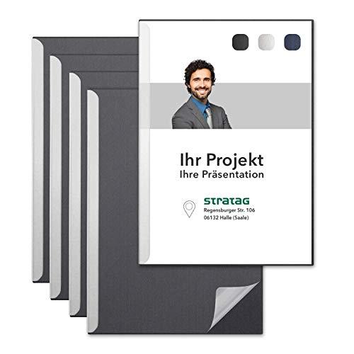 STRATAG Klemmschienen-Set (6 Stück) mit transparentem Deckel aus PP Kunststoff sowie Binderücken aus stabilem 320 g/m² Karton (Dark Grey)