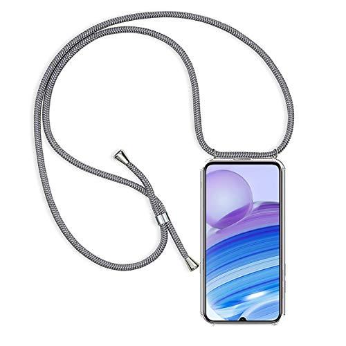 GoodcAcy Funda con Cuerda para Xiaomi Redmi Note 9/10 4G Pantalla en Cristal Templado-Carcasa Transparente de TPU-con Cordon para Llevar en el Cuello