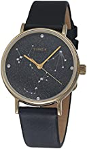 Timex Women's Celestial Opulence 37mm Watch with Swarovski Crystals – Black Dial & Gold-Tone Case with Black Textured Leather Strap