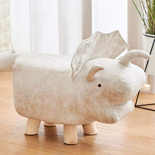 LDM Taburete bajo Forma Taburete de Dibujos Animados Taburete de Madera Maciza Reposapiés Banco pequeño Banco de Zapatos de Cuero Banco pequeño Creativo (Color: Blanco)