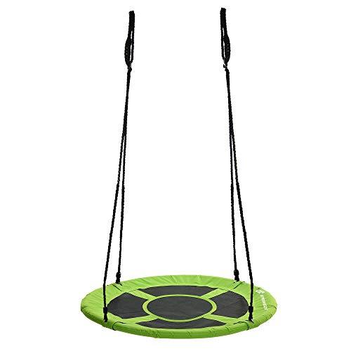 SPRINGOS Columpio de cigüeña, columpio de platos, asiento cerrado, columpio de jardín, zona de juegos infantil, columpio divertido (verde y negro, 90 cm)