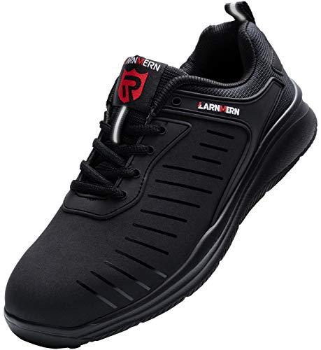 LARNMERN PLUS Sicherheitsschuhe Damen Leicht Arbeitsschuhe mit Stahlkappe Anti-Punktion Atmungsaktiv Komfort Sportlich Schutzschuhe rutschfest Reflektierende Industrie Schuhe (40EU,Schwarz)