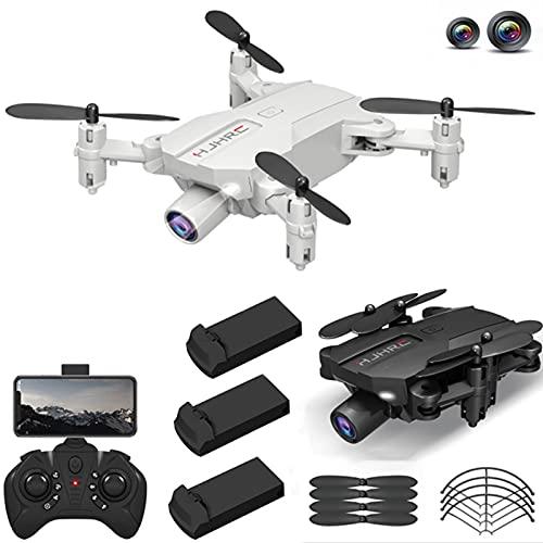 YIFAFA HJ66 Mini Drone con cámara Dual HD 1080P, WiFi FPV Presión de Aire Retención de altitud Cuadricóptero RC Plegable, 45 Minutos de Tiempo de Vuelo con 3 baterías