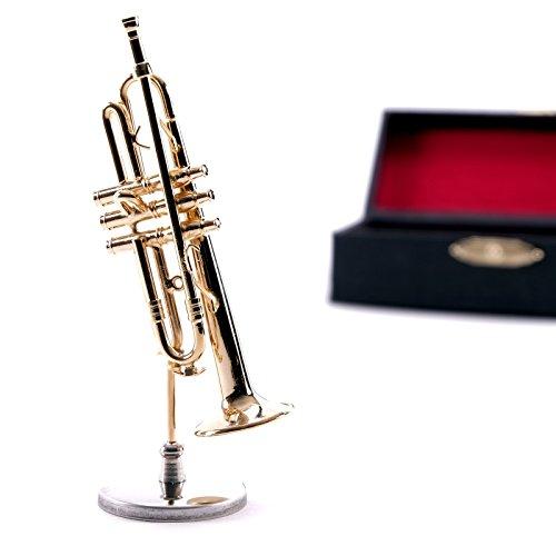 DESIGN DELIGHTS Miniatur DEKO Instrument TROMPETE | Metall, 11 cm, mit Ständer | Musikinstrumente
