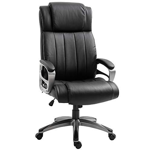 Vinsetto Chefsessel mit Massagefunktion, Massage Sessel, höhenverstellbarer Drehstuhl, ergonomischer Gamingstuhl, Bürostuhl massage, Schwarz, 64,5 x 79 x 115-126 cm