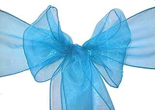 VDS - 150 PCS Elegant Organza Wedding Chair Sashes/Bows for Wedding Party Banquet Decor - Ribbon Tie Back Sash Bow – Blue