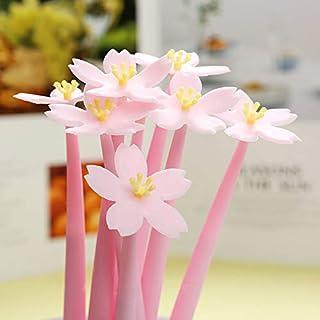 Chris.W 12Pcs Cute Cherry Flower Pens Creative Gel Ink Pens, Party Favor Decor, Office Supplies, Black 0.5mm (Pink)