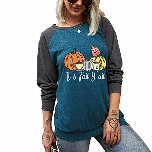 ZFQQ otoño Mujer Calabaza de Halloween impresión de Letras Casual Suelta de Dos Colores Camiseta de Manga Larga Top