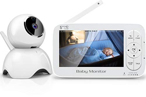 SYOSIN Babyphone mit Kamera,5 Zoll Video Überwachung Baby Monitor,1080 x 720P IPS HD Display,300m Reichweite, Schlaf-Modus,Gegensprechfunktion,Schlaflieder,Temperatursensor,Nachtsicht,Fütterungs-Timer