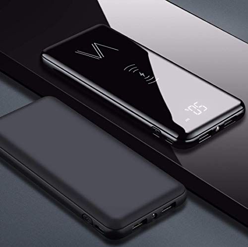 Vainz Wireless Powerbank Mobile Charger 10000mAh【2020 Neu】 Externer Akku, 2 in 1 Kabellose Qi Power Bank mit Micro-USB und Lightning Kabel Dual Eingängen und 3 Ausgängen 【2X USB, 1x Wireless】