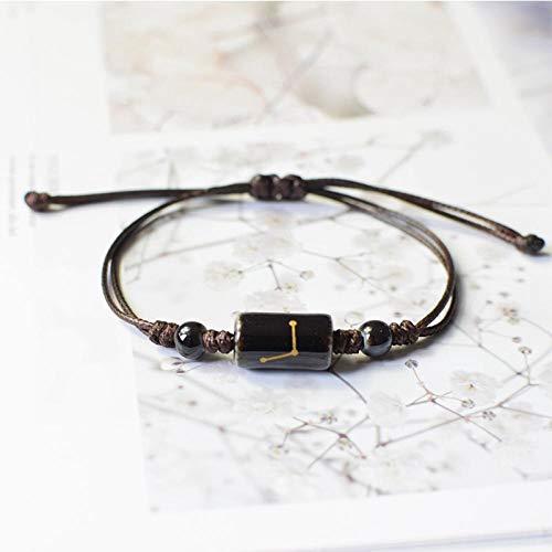 Armband sieraden 12 Sterrenbeeld Sterrenbeeld Armband Horoscoop Astrologie Keramiek Armbanden Vrouwen Mannen Relatie Armband String Polsband