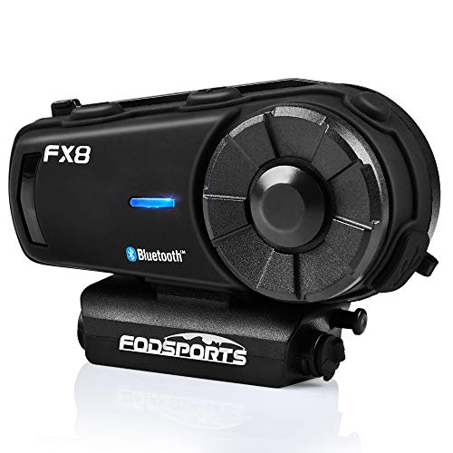 FODSPORTS FX8 Motorcycle Bluetooth Intercom with Noise Cancellation, Louder Volume Motorcycle Bluetooth Headset with Great Sound Quality, FM, Up to 8 Riders Group Intercom Communication System(1pcs)