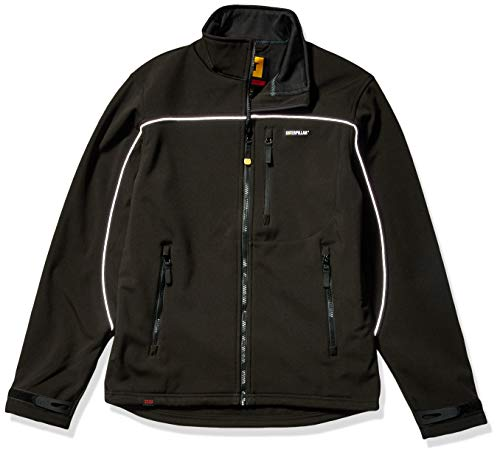Caterpillar Men's Soft Shell Jacket (Regular and Big & Tall Sizes), Deep Black, X Large