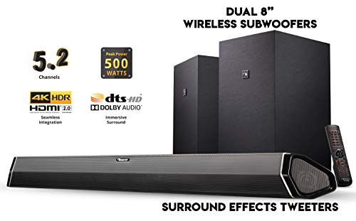 "Nakamichi Shockwafe Plus 5.2Ch 500W 45-Inch Sound Bar with Dual 8"" Wireless Subwoofers"