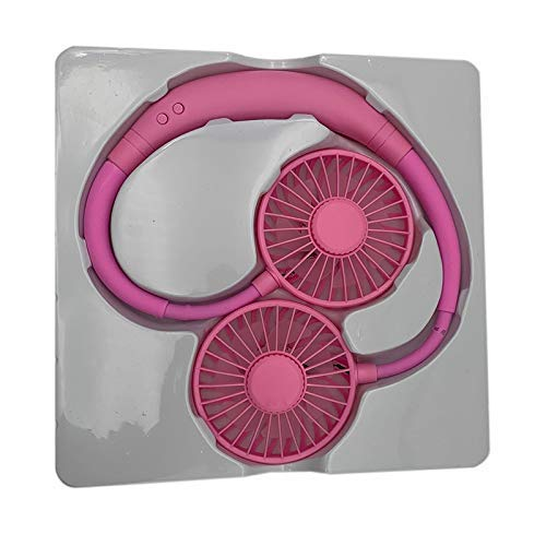 JINKEBIN Ventola USB portatile 2000 Mare USB Fan Collo Ventilatore Ricaricabile Piccolo Portatile Ventilatore Sportivo Luce, Rosa