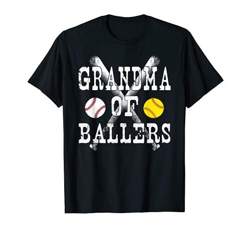 Vintage Grandma of Ballers T Shirt Funny Baseball Softball L T-Shirt
