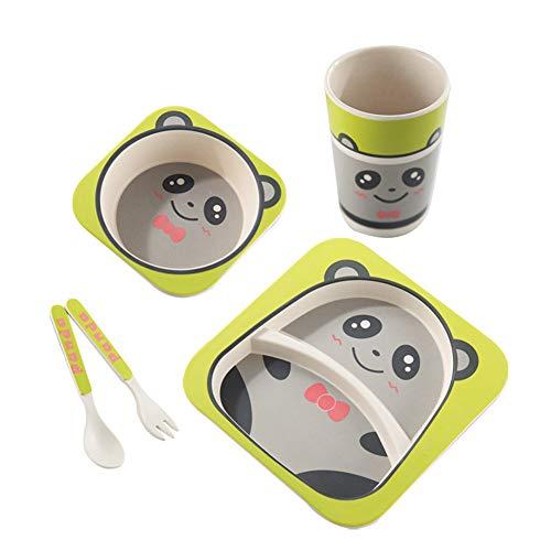 Vajillas infantiles Creative Unique Bamboo Fiber Panda Plato for niños Cute Baby Plate Cartoon Rice Gift Box Vajilla Cute Cartoon Children's Set de cubiertos antideslizantes 5 piezas para la Escuela e